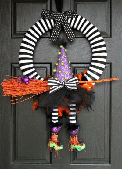 Witches feet door wreath for Halloween