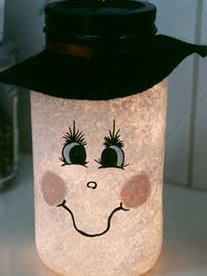 Mason Jar Snowman Glow Light