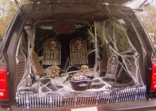 car decorated like a graveyard