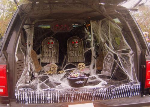 CAr decorated like a graveyard