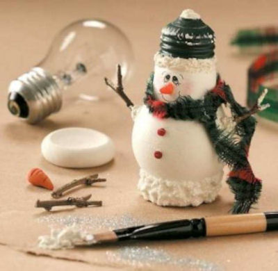Lightbulb Snowman DIY craft project