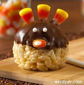 Rice Krispie Candy Corn Turkey Balls