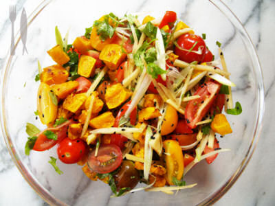 Tomato, Butternut Pumpkin and Ginger Salad with Tamarind and Sesame Dressing