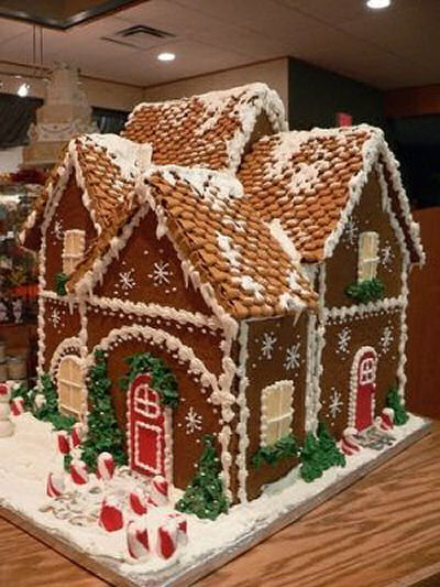 Gingerbread house with great detail on the roof