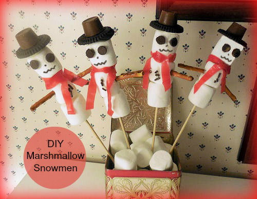 Marshmallow snowmen DIY Christmas edible and decor project
