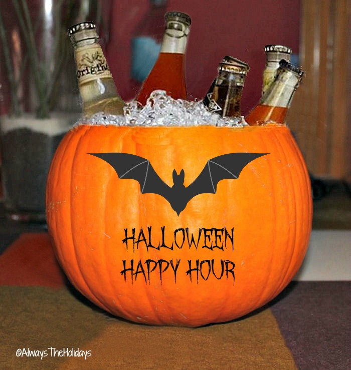 Adult Halloween party ideas - This Halloween pumpkin makes a super drink holder for your holiday party.