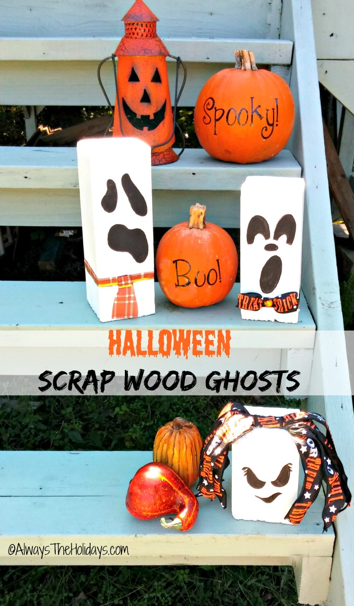 These Halloween scrap wood ghosts are fun and easy to do and add some great seasonal curb appeal to your front step.