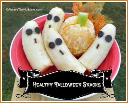 Healthy Halloween banana ghosts and orange pumpkins