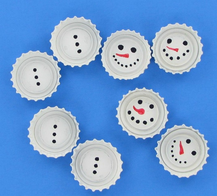 DIY Bottle Cap Snowmen Ornaments