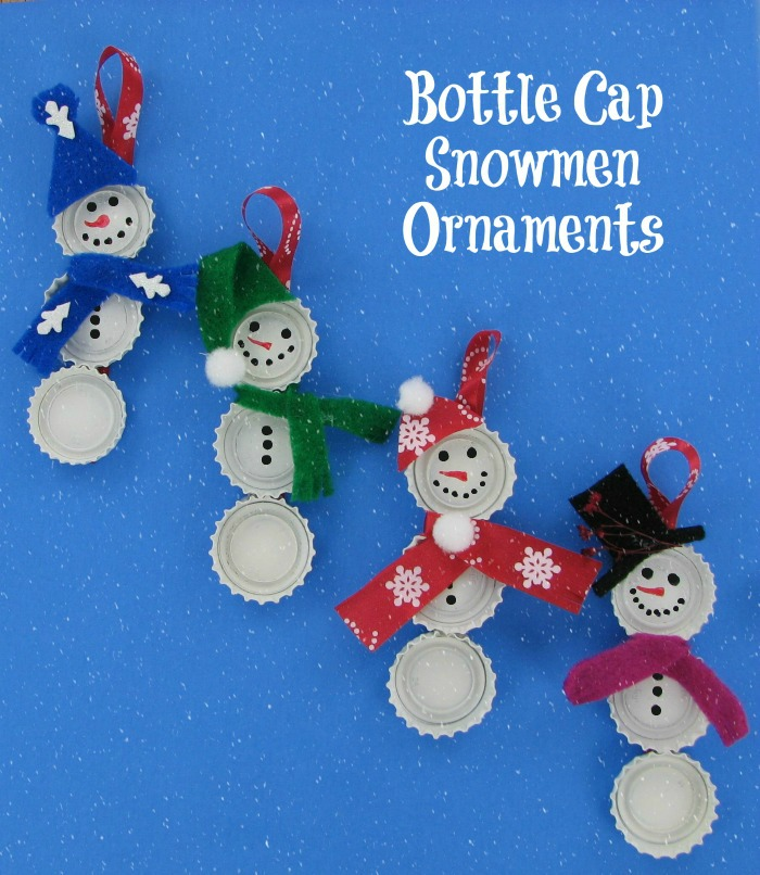 These Bottle Cap Snowmen DIY Ornaments are very easy to make and the kids will love to be involved in the project.