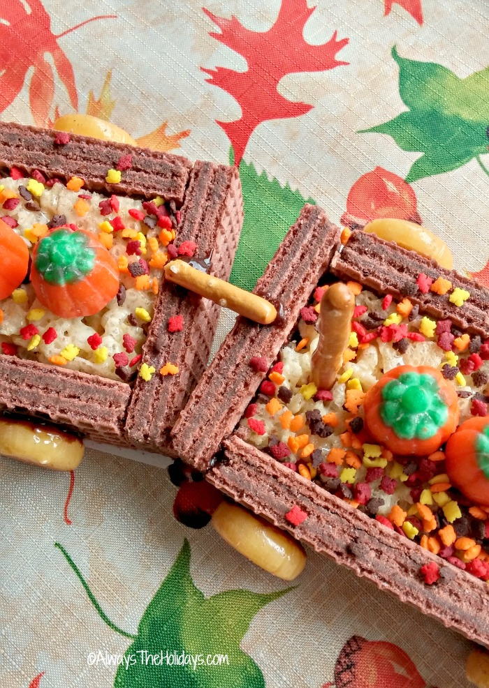 Join the box cars with small pieces of pretzels and frosting