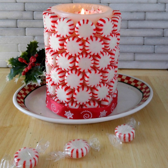 DIY Peppermint Candle - Easy Holiday Decor Project