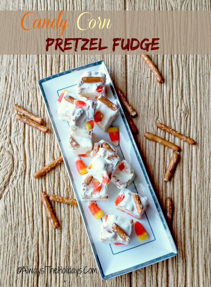 This candy corn pretzel fudge iss both sweet and salty. It is sure to become a favorite at your holiday table.