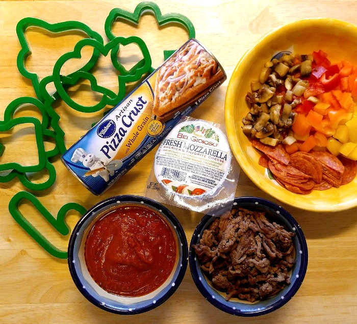 Ingredients for mini Christmas pizzas