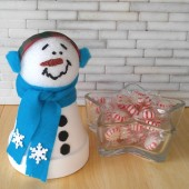 This clay pot snowman is right at home near a bowl of peppermints