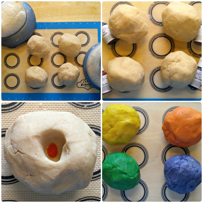 Form the dough into four balls and color with gel food coloring.