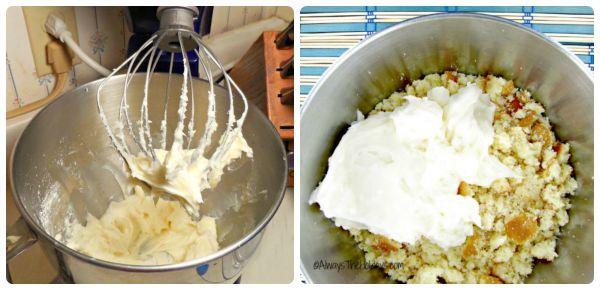 cream cheese and cake crumbss
