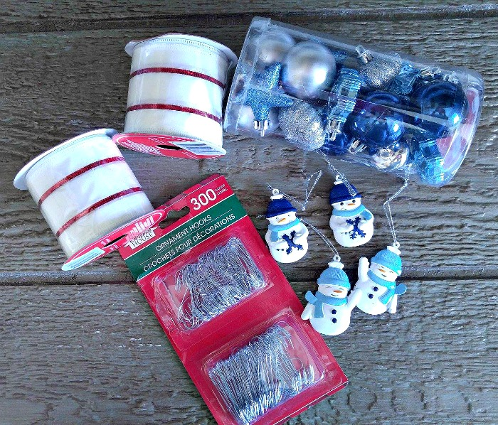 Supplies for the Christmas ornament door hanger