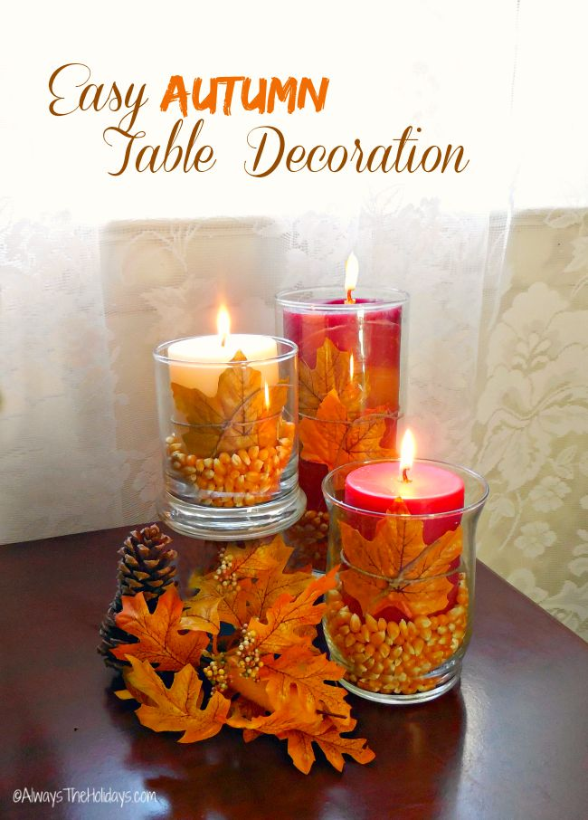 This hurricane lamp popcorn fall table decoration could not be easier to make and yet is very effective. Perfect for any special occasion in the autumn.