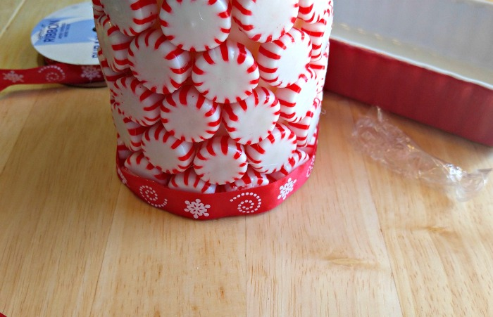 Attach a festive ribbon to the bottom of the Peppermint Candle.