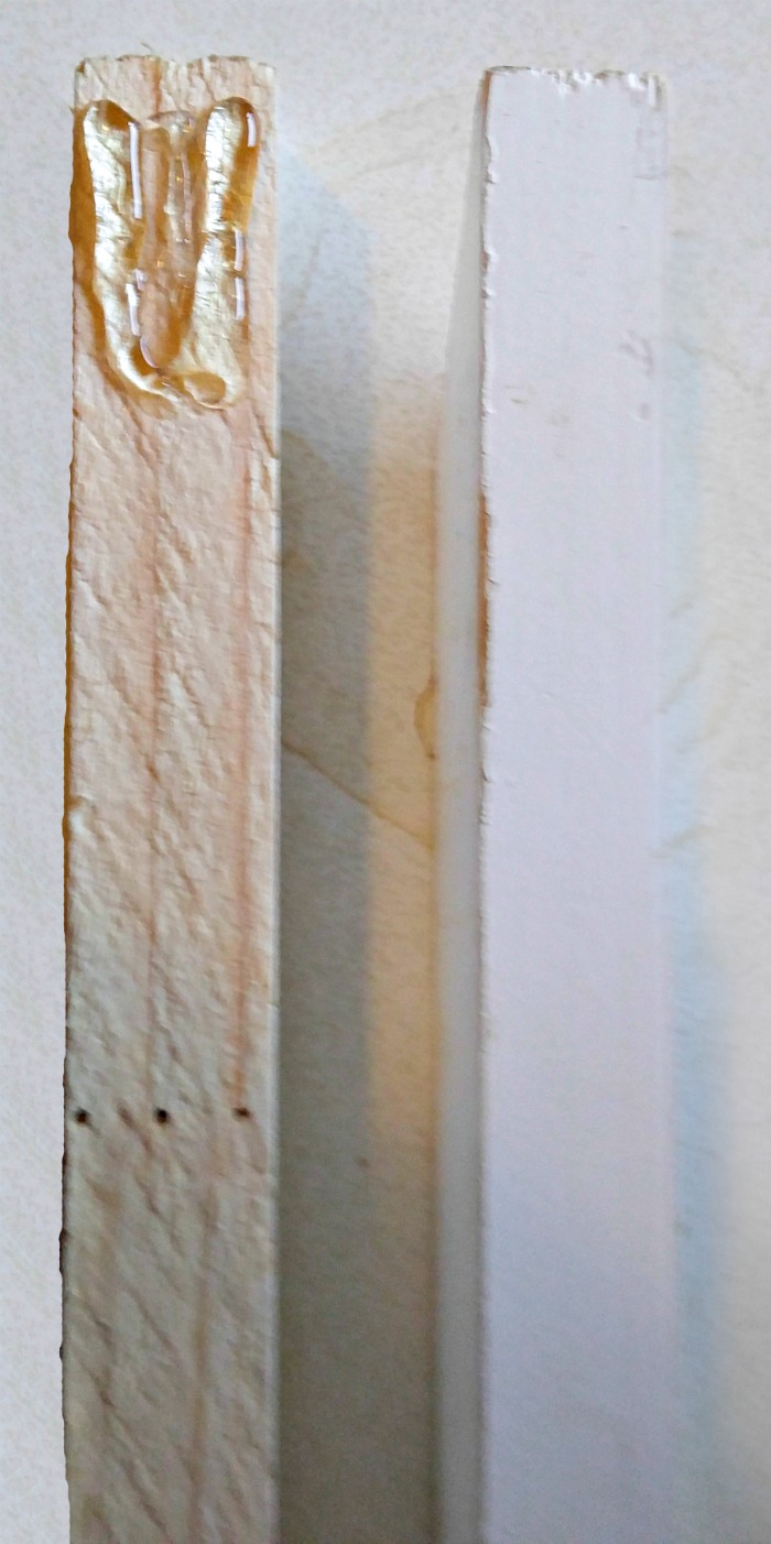 HOt glue the angled ends together