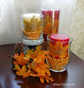 Autumn hurricane vase popcorn table decoration