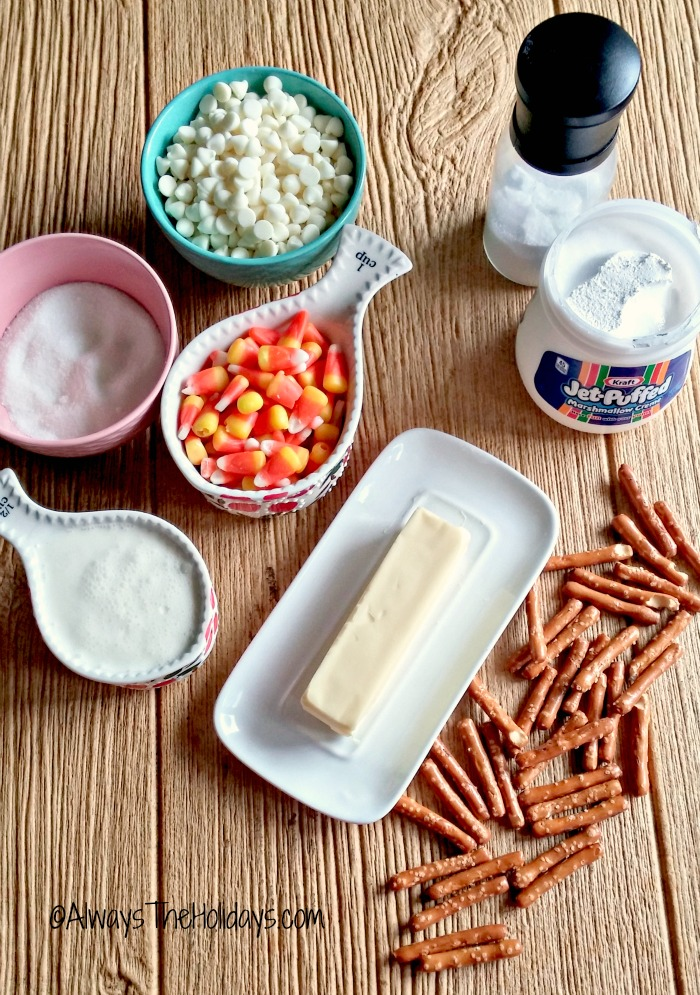 ingredients for candy corn fudge.