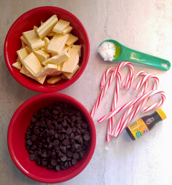 Ingredients for peppermint bark