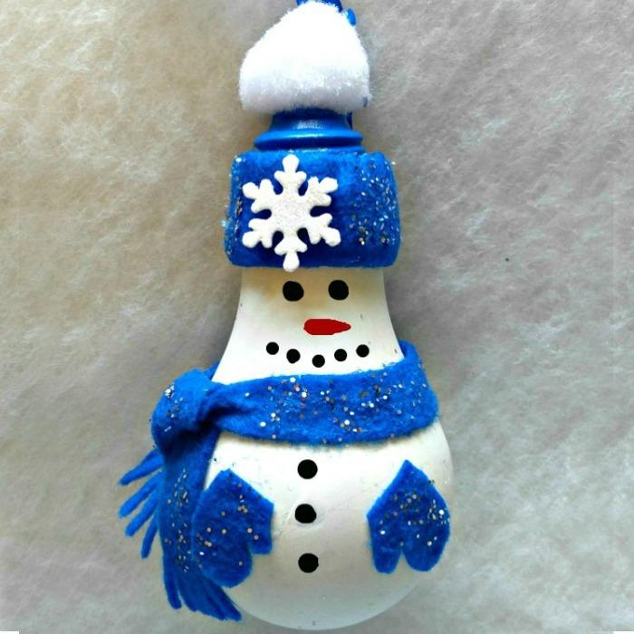 Adorable Light Bulb Snowman Ornament
