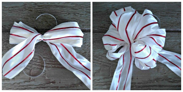 Make a bow for the Christmas ornament Door hanger
