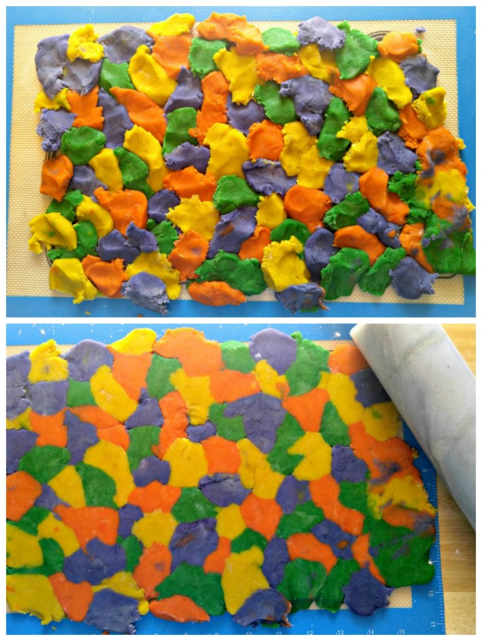 Piece together chunks of the colored dough and then roll with a floured rolling pin.