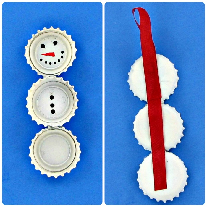 Putting together the Bottle Cap Snowman Ornaments is easy