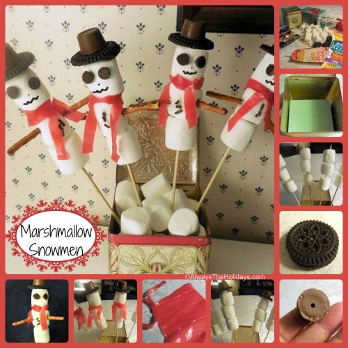 Tutorial for Marshmallow snowmen DIY Christmas edible and decor project