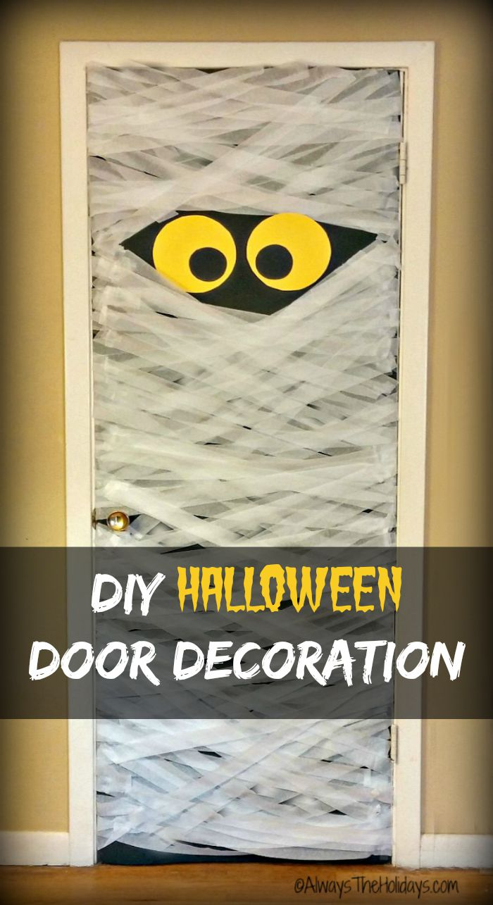 Halloween door decorations like this DIY Mummy Door Decoration will delight your Trick or Treat Visitors. Makes a great prop for a Halloween party too.