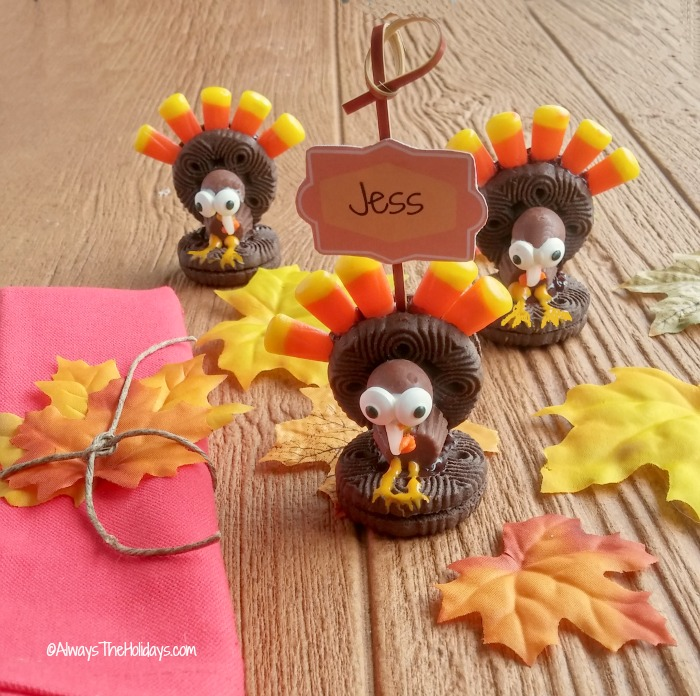 Oreo Turkey cookies place card holder