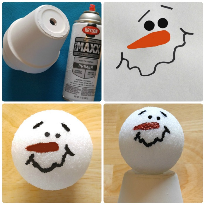 Spray the clay pot and then paint the snowman face and attach the head to the clay pot.