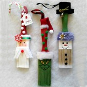 These fun paintbrush ornaments will delight both the young and the young at heart.