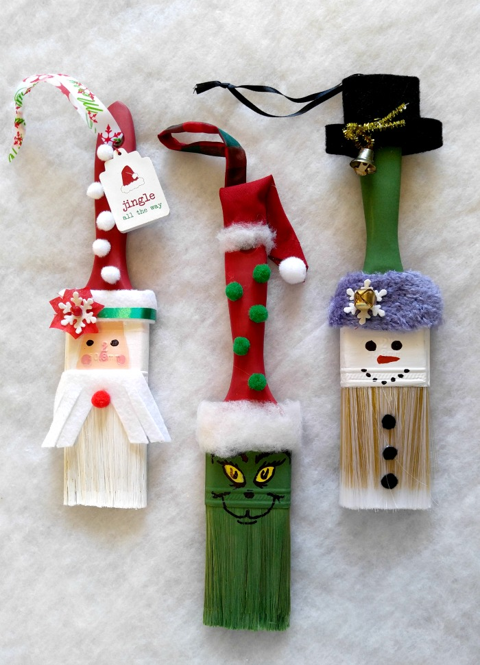 These fun paintbrush Christmas ornaments will delight both the young and the young at heart.