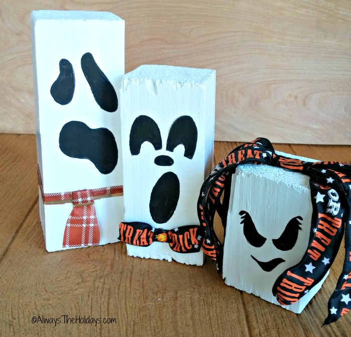 Halloween scrap wood ghosts with neckties and hair