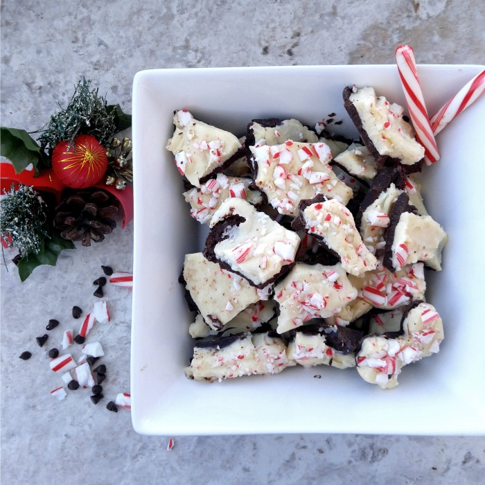 A bowl of peppermint bark
