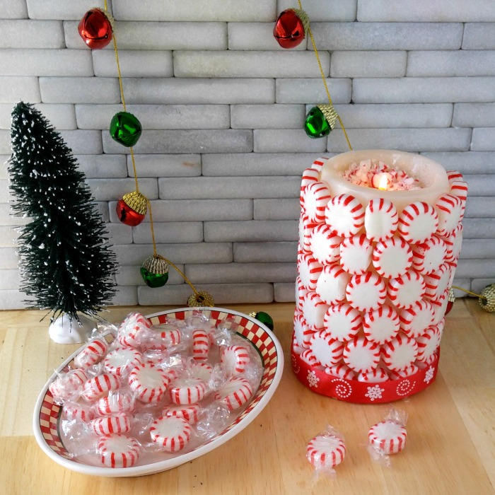 This Peppermint Candle is right at home on a pretty holiday table.