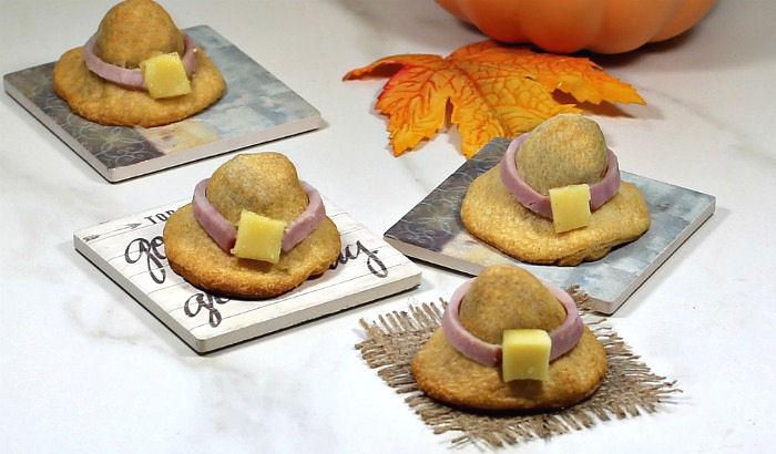 Cute appetizers shaped like hats.