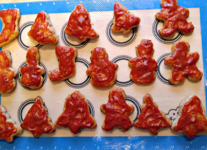 Add pizza sauce to the festive holiday shapes