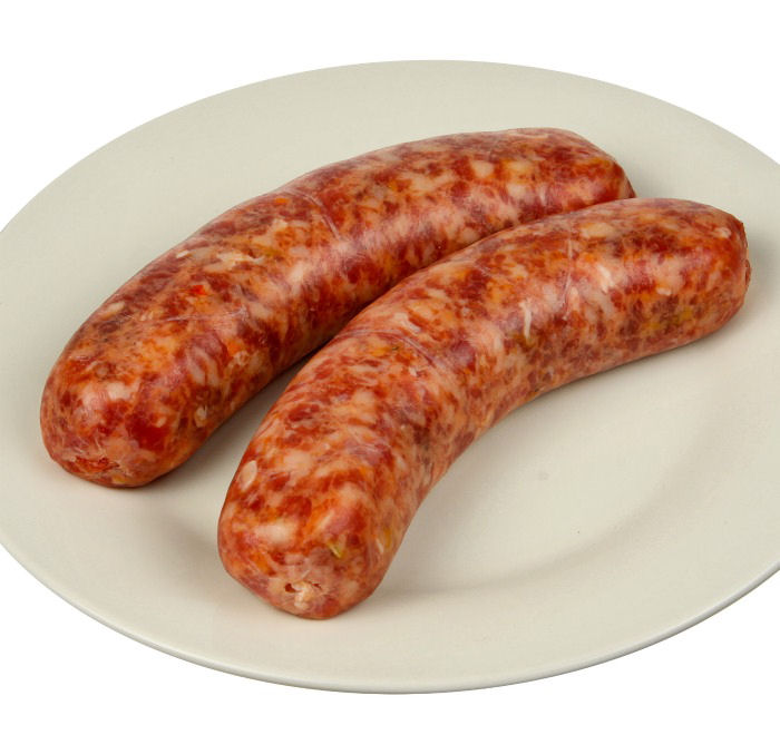 Italian sausages on a plate.