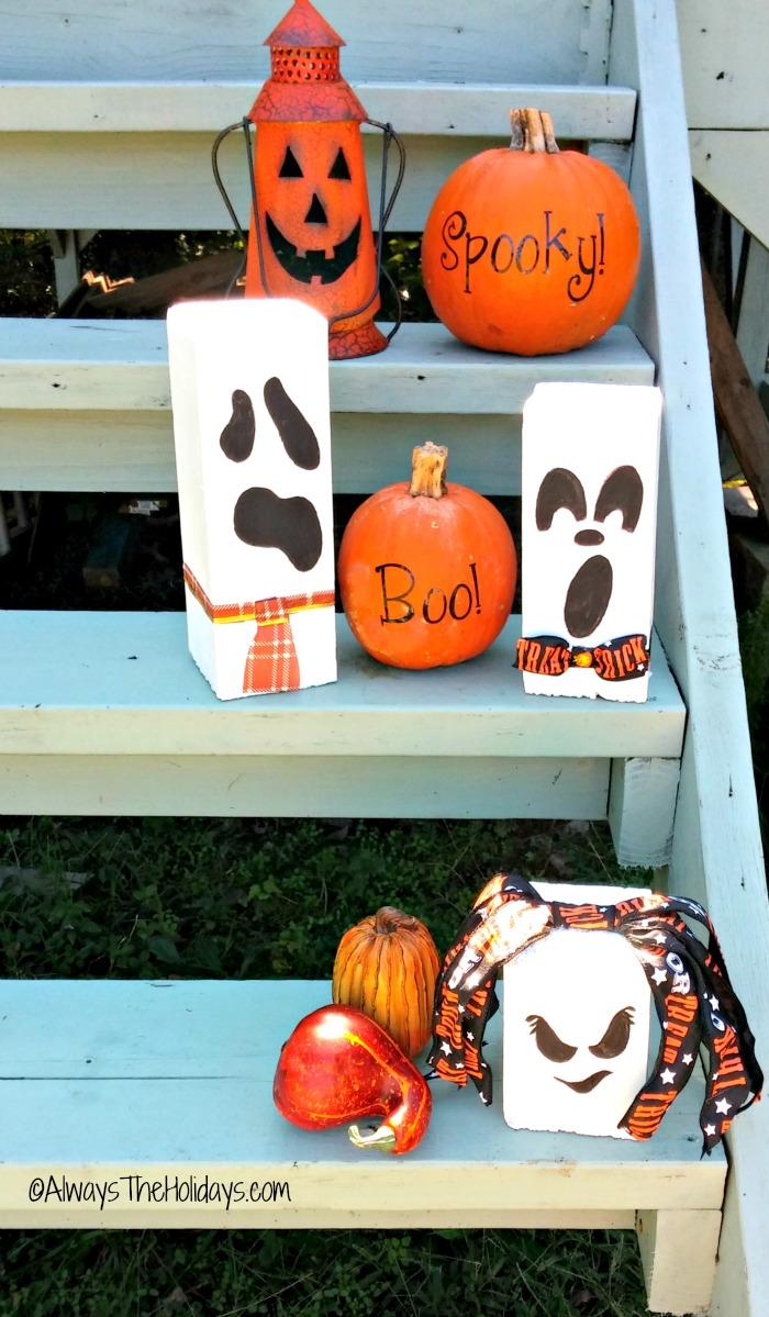 Halloween scrap wood ghosts on the steps