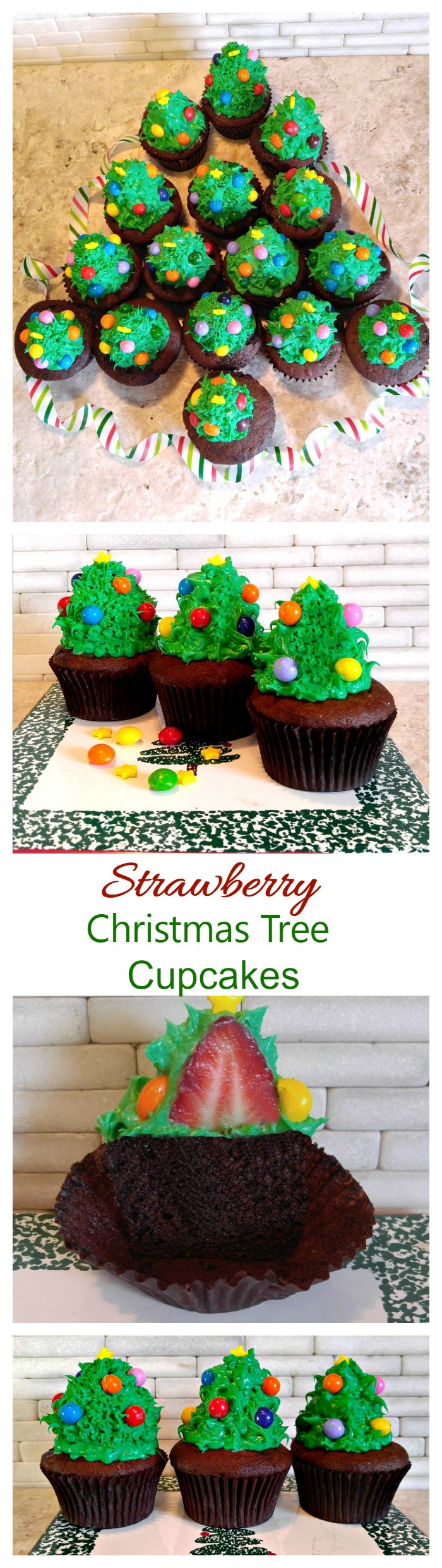 These Christmas tree Cupcakes have a healthy strawberry surprise in the middle of the cupcake!
