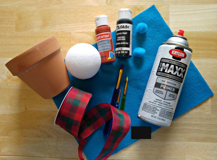 Supplies for the clay pot snowman
