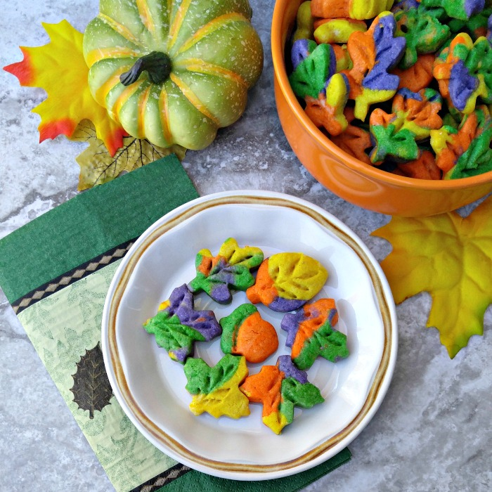 Plate of Thanksgiving autumn leaf cookies.
