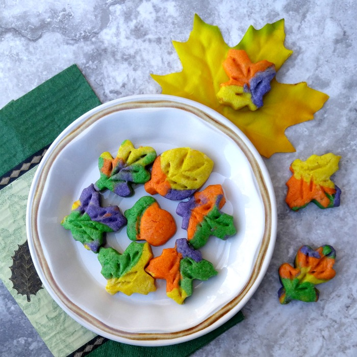 Close up of Thanksgiving autumn leaf cookies.