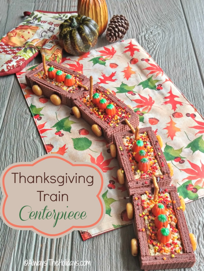 This Thanksgiving DIY Cookie train will delight the kids and the young at heart at your holiday gathering.  It is fun to put together and to eat!  alwaystheholidays.com